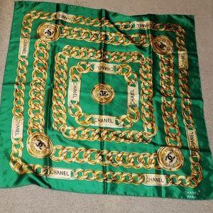 Chanel  Green Print Scarf